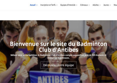 Refonte de site internet du badminton club d'antibes